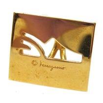 Authentic Salvatore Ferragamo Vintage Logos Scarf Ring Gold-Tone Italy M01448 Photo
