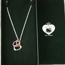 Authentic Sanrio Hello Kitty Face Necklace With Red Heart Photo