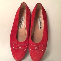 Authentic Sonia Rykiel Shoes Red Suede Flats With Sequins Bow Size 7 Us 38 Eur Photo
