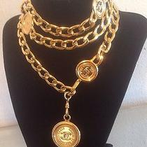 Authentic Stamped Chanel Gold Plated Six Medallion Belt Wih Box & Bag Photo