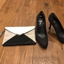 Authentic Stuart Weitzman 6m Grey/charcoal heels&express Clutch Silver Hardware Photo
