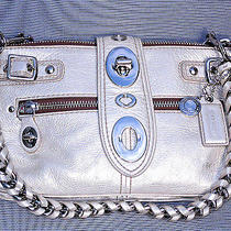 Authentic Stunning Silver Coach Leather Handbag Purse Clutch Tote Phone Glasses  Photo