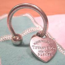 Authentic Tiffany & Co. Sterling Silver Horseshoe Heart Tag Key Ring W/ Bag Photo