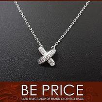 Authentic Tiffany Tiffany Pt950 Cross Stitch Diamond Necklace From Japan Photo