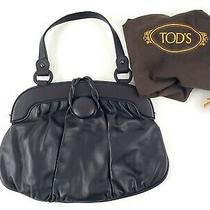 Authentic Tods Black Leather Magnetic Handle Satchel Bag Purse Photo