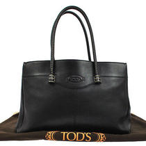 Authentic Tod's Logos Hand Tote Bag Black Leather Made in Italy Vintage Bt07159 Photo