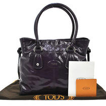Authentic Tod's Logos Hand Tote Bag Purple Silver Leather Italy Vintage M08620 Photo