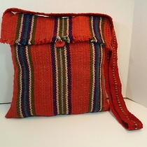 Authentic Tomato Red With Alternate Colors Thread Peruvian Cross Body Tote  Photo