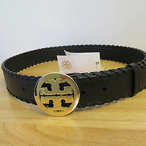 Authentic Tory Burch Black Leather Marion Whipstitched Logo Belt Size Xs Photo