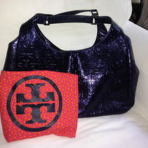 Authentic Tory Burch Dafina Metallic Blue Embossed Logo Leather Hobo Bag Purse Photo
