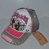Authentic True Religion Baseball Cap Hat Tr1506 Grey Pink   Brand   New Photo