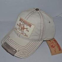 Authentic True Religion Baseball Cap Hat Tr1597 Stone Beige  Linen   Brand New Photo