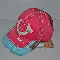 Authentic True Religion Baseball Cap Hat Tr1600 Fuchsia Pink Mesh  Back New Photo