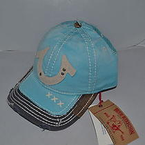Authentic True Religion Baseball Cap Hat Tr1600 Light Blue Navy  Mesh Back New Photo