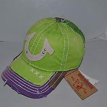 Authentic True Religion Baseball Cap Hat Tr1600 Lime Green Purple  Mesh Back New Photo