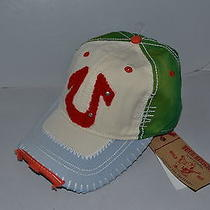 Authentic True Religion Baseball Cap Hat Tr1603 Off White  Green  Brand New Photo