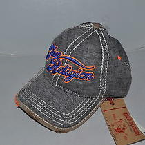 Authentic True Religion Baseball Cap Hat Tr1608 Grey Orange Linen  Brand New Photo