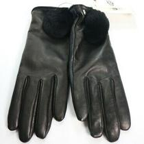 Authentic Ugg 17634 Women's Leather Pom Glove Black Size Small 110 New  Photo