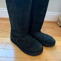 Authentic Ugg Australia Black Classic Tall Suede Boots Womens Size 7 Pre Owmed Photo