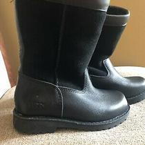 Authentic Ugg Brand Bailey Bow Leather/suede Boots Black Size 10 Girls Toddler Photo