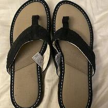 Authentic Ugg Womans Flip Flops Size 9 Euc Black and Tan Photo