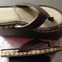 Authentic Uggs Chocolate Brown Wedge Playa Flip Flops 1649 Size 7 Fits Size 7.5 Photo