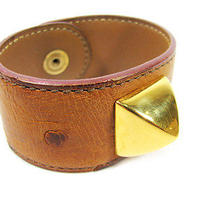 Authentic Used Hermes Brown Ostrich Leather Bangle Bracelet Photo