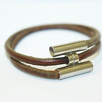 Authentic Used Hermes Leather Bracelets Brown Silver Tone Bangle A70 Photo