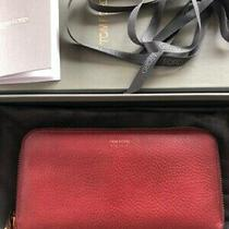 Authentic Used Tom Ford Red Leather Large Zipped Wallet  Genuine Product Photo