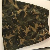 Authentic Valentino Skirt Green and Gold Leaf Pattern Unique Sz Small (4) Photo