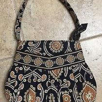 Authentic Vera Bradley Black Print Pleated Bag Purse Tote Retail 45.00 Photo