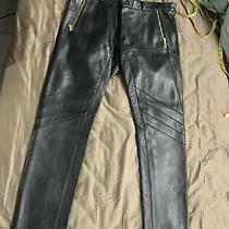 Authentic Versace Black Leather Pants Nwt Size 54 6950 See Description Photo
