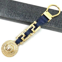 Authentic Versace Gold Color Metal and Deep Blue Leather Key Ring With Box Photo
