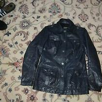 Authentic Versace Jeans Couture Military Style Navy Leather Jacket Women Sz S Photo