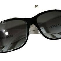 Authentic Versace Sunglasses White Black Flower Gemstone Vintage Preowned Photo