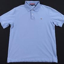 Authentic Vineyard Vines by Shep & Ian Pale Blue Whale Crest Polo Shirt Mens M Photo
