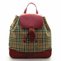 Authentic Vintage Burberry Backpack Nova Check Canvas Red Leather 20007401kt Photo