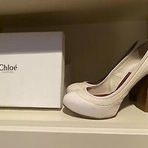 Authentic Vintage Chloe Off White Cream Platform Pump Shoe Size 38 Us 7 Photo