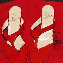 Authentic Vintage Christian Louboutin Red Patent Thong Sandals Flats 37.5  Photo