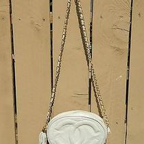 Authentic Vintage Coco Chanel White Quilted Rounded Handbag Gold Chain Tassel Photo
