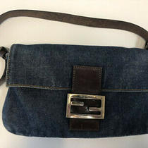Authentic Vintage Fendi Baguette Hand Bag Purse Indigo Blue Denim Italy Photo