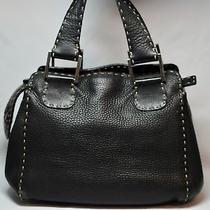 Authentic Vintage Fendi Selleria Handbag Black Pebble Leather Sterling Silver Photo