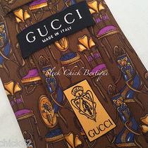 Authentic Vintage Gucci 100% Silk Mens Tie Necktie Antique Chairs Pattern  Rare Photo