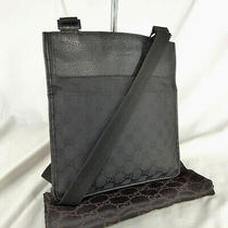 Authentic Vintage Gucci Black Gg Canvas Crossbody Messenger Shoulder Bag Ex Con Photo