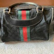 Authentic Vintage Gucci Doctor Bag Satchel Purse Handbag Top Handle Black/red/gr Photo