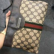 Authentic Vintage Gucci Gg Web Canvas Sherry Line Clutch Photo
