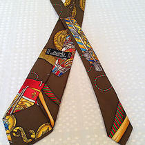 Authentic Vintage Hermes 100% Silk Mens Tie Necktie Brown/gold Drum France  Photo