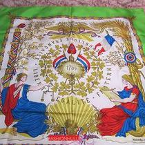 Authentic Vintage Hermes Scarf J.metz Liberte Egalite Fraternite Green Photo