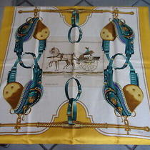 Authentic Vintage Hermes Silk Scarf Carrick a Pompe Philippe Ledoux 1953 Yellow Photo