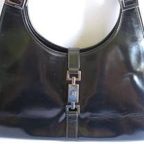 Authentic Vintage Jackie O Black Leather Shoulder Hobo Bag. Made in Italy Photo